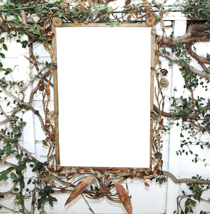 Tole Wall Mirror with Floral Accented Frame