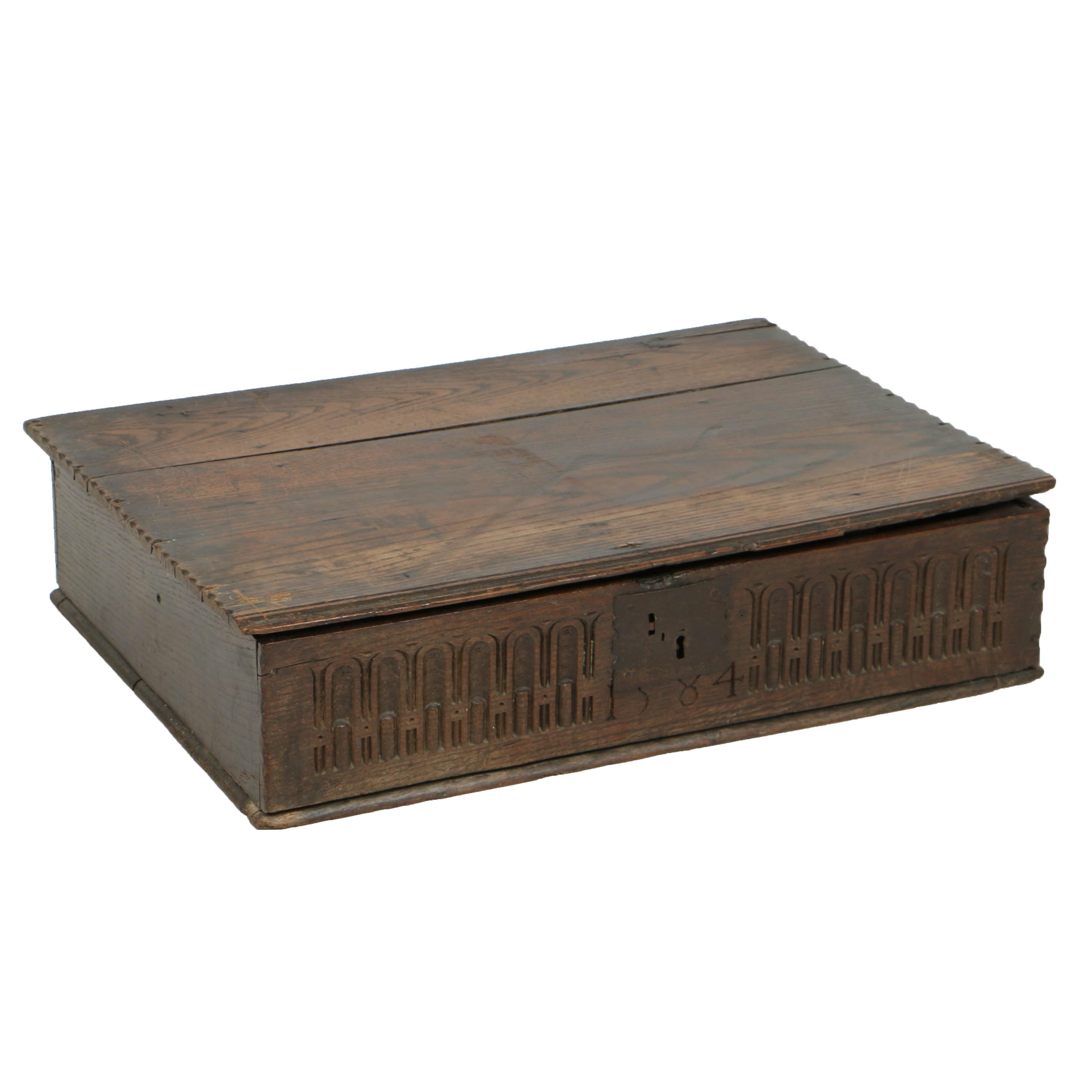 Antique Elizabethan Carved Oak Box, Late 16th Century