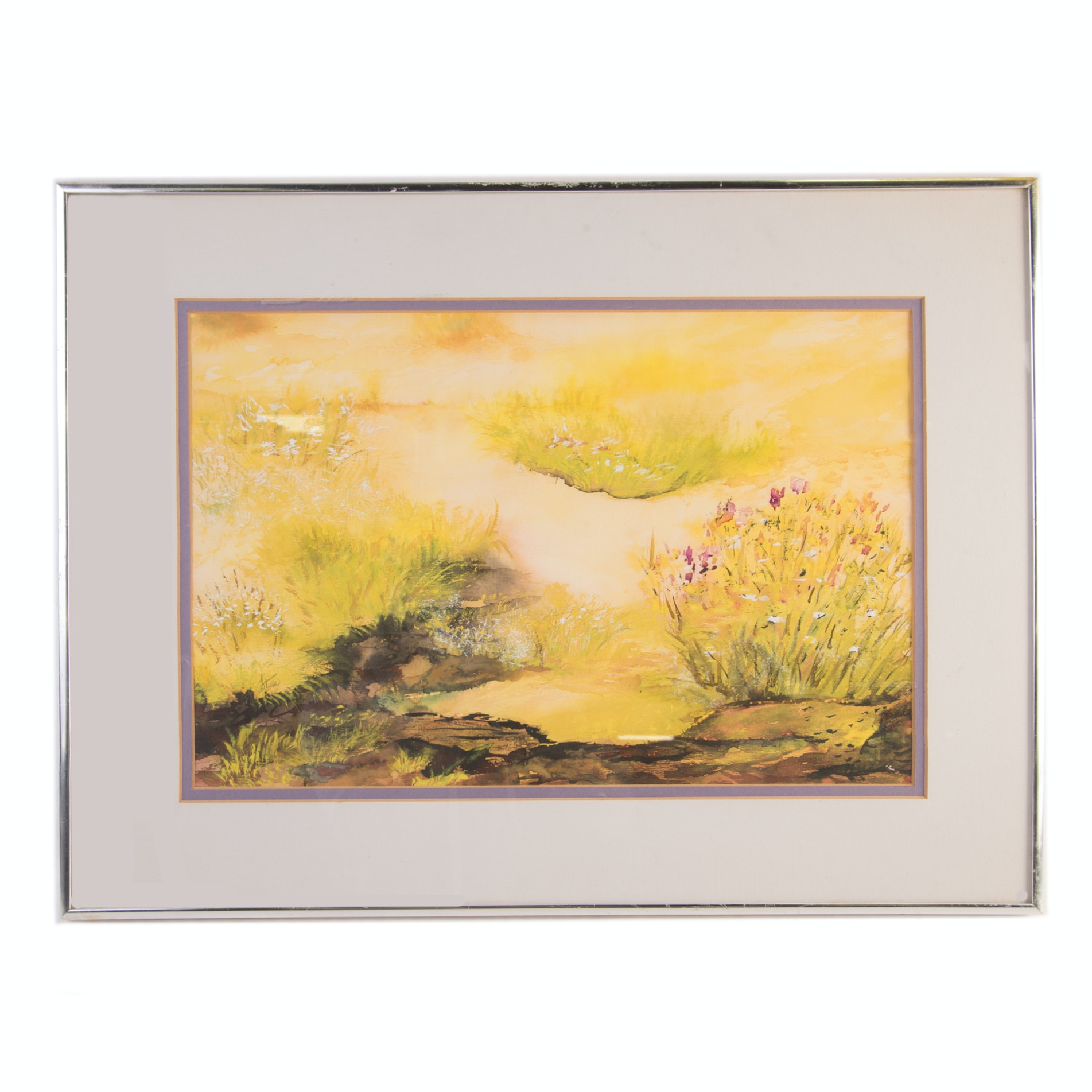 Original Watercolor on Paper of an Abstract Landscape