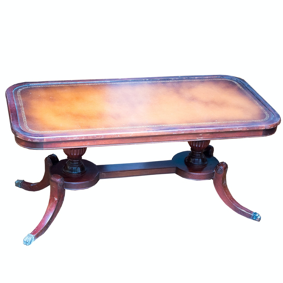 Duncan Phyfe Style  Coffee Table with Leather Inlay