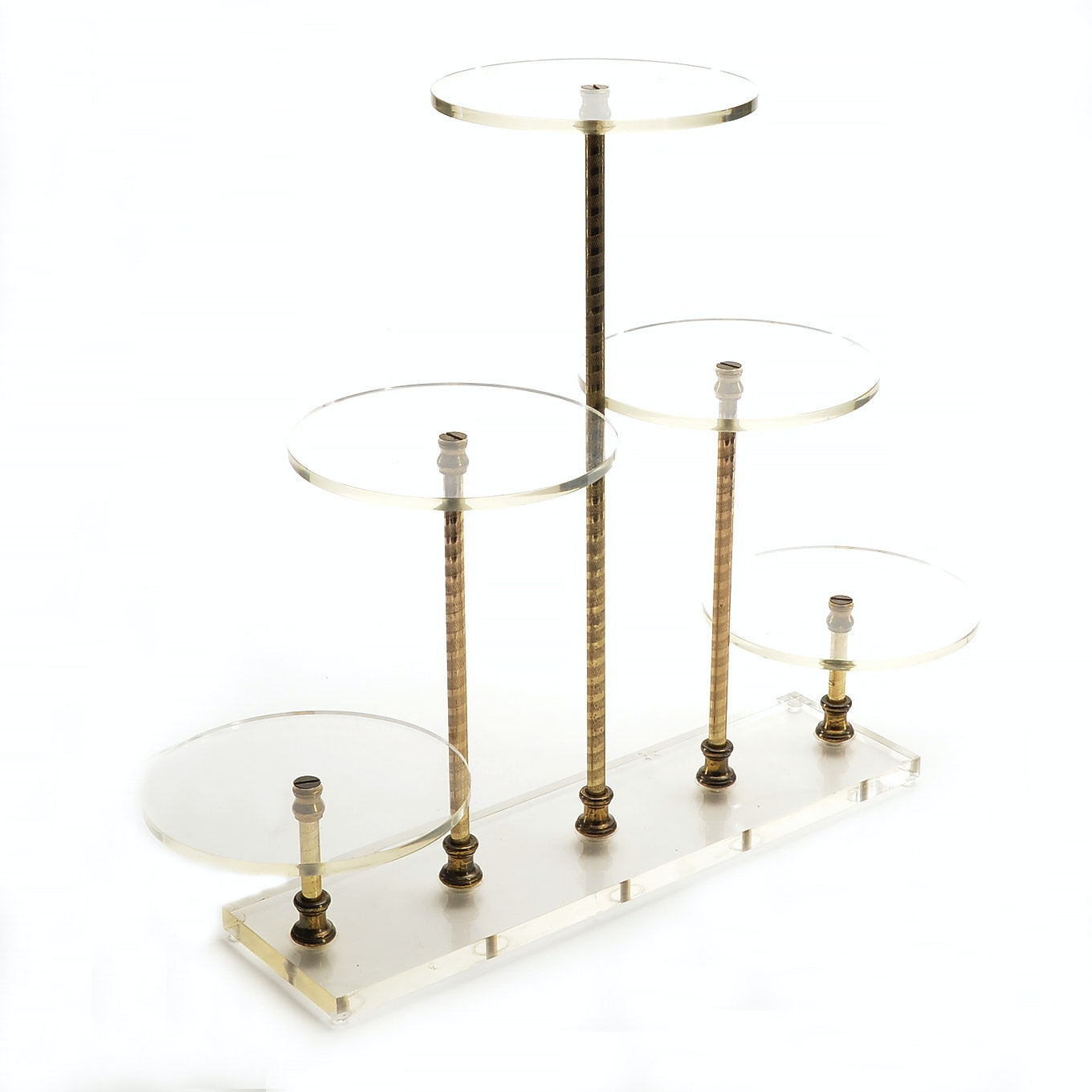Mid-Century Clear Acrylic and Brass Table Display Stand