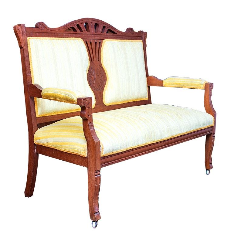Victorian Eastlake Style Upholstered Settee