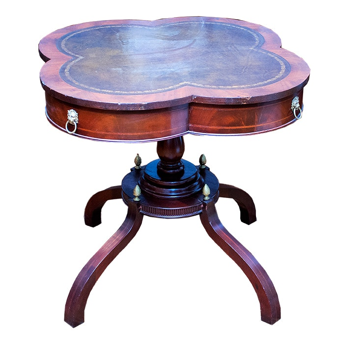 Duncan Phyfe Wood Accent Table with Leather Inlay