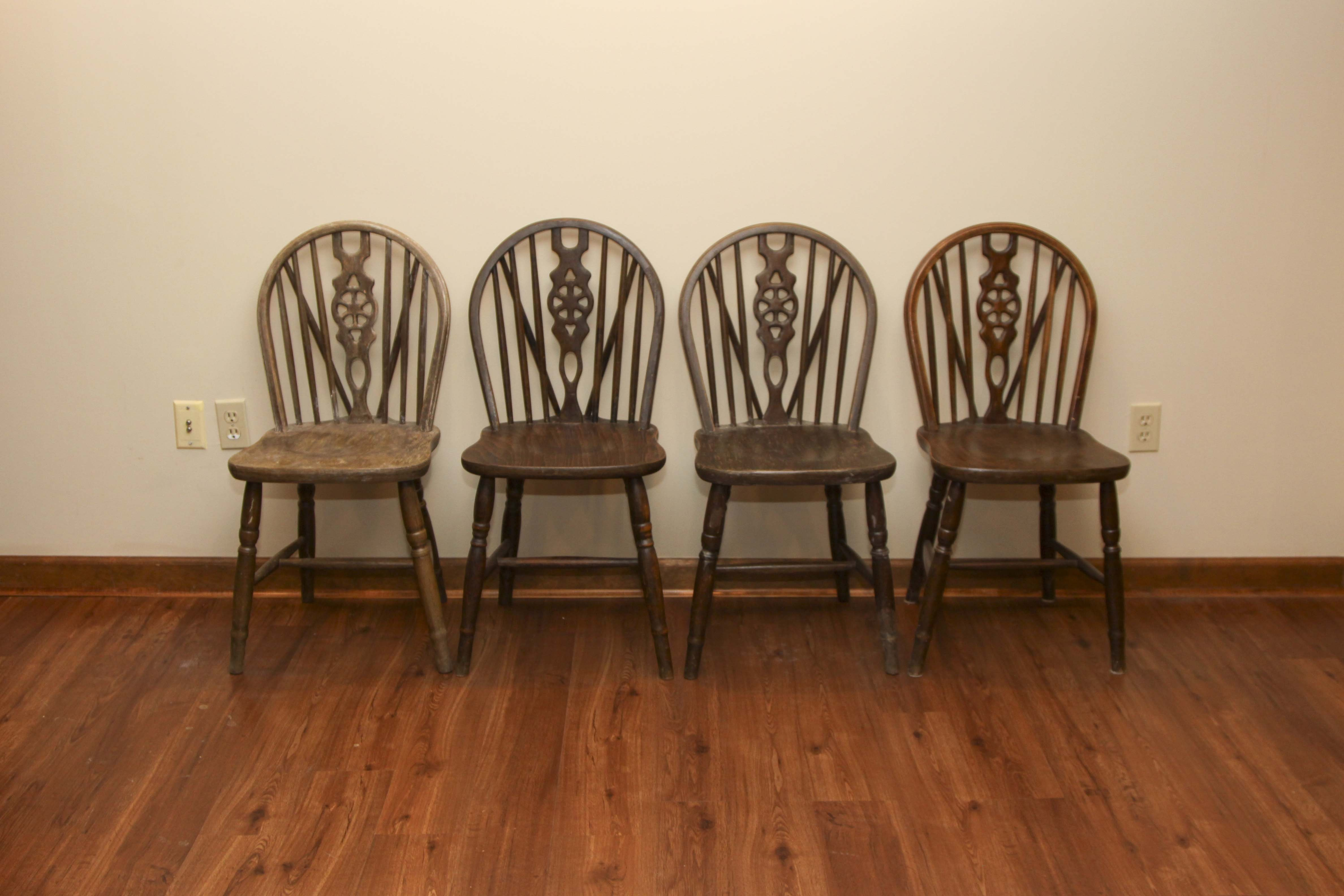 Vintage Wooden Windsor Style Dining Chairs