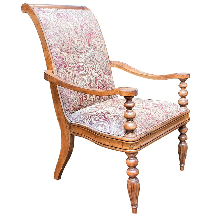 Broyhill Carved Wood Upholstered Armchair