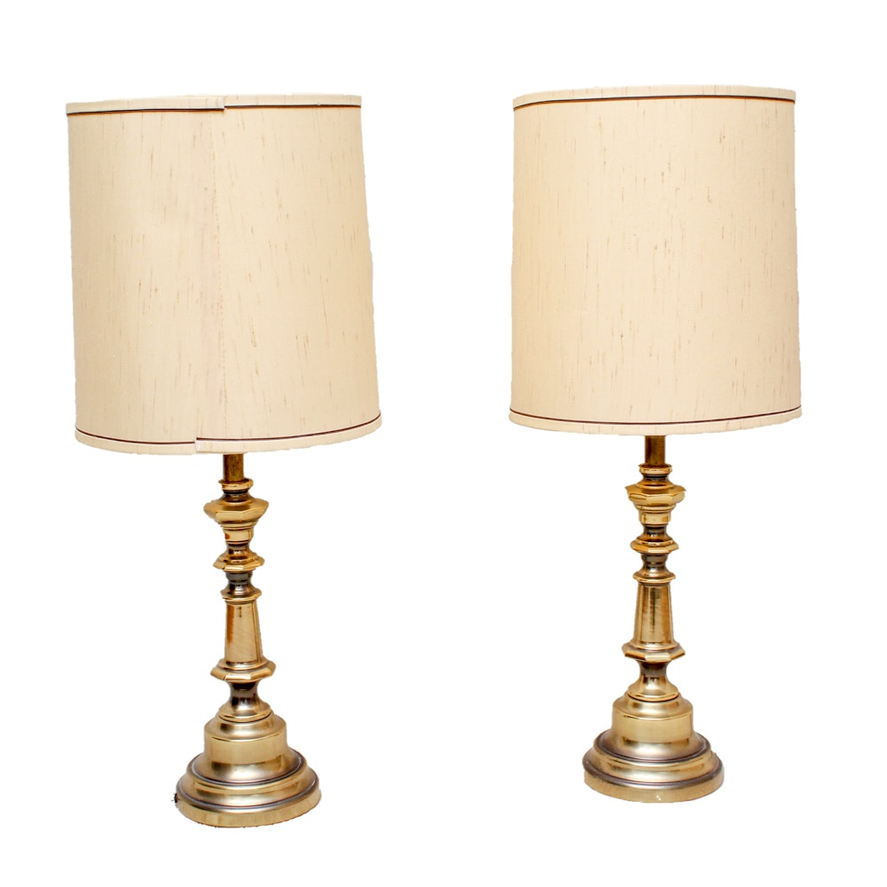 Two Vintage Brass-Tone Lamps with Shades