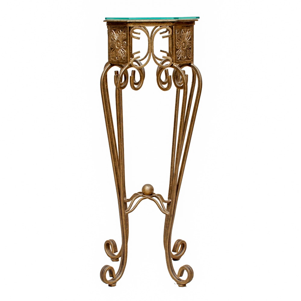 Metal and Glass Plant Stand