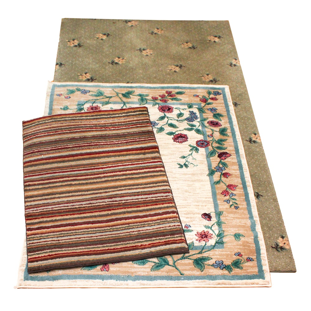 Power-Loomed Floral and Striped Area and Accent Rugs