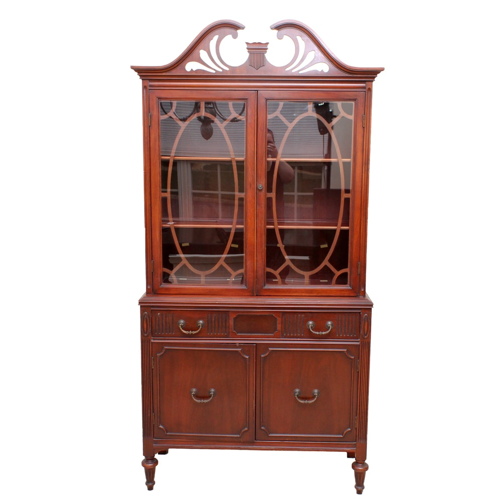Vintage Sheraton Style China Cabinet by J.B. Van Sciver Company