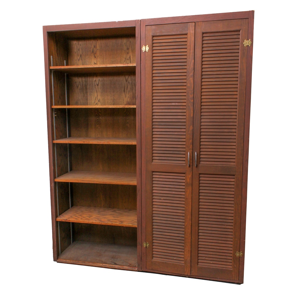 Pine Double-Bookshelf with Louvered Doors
