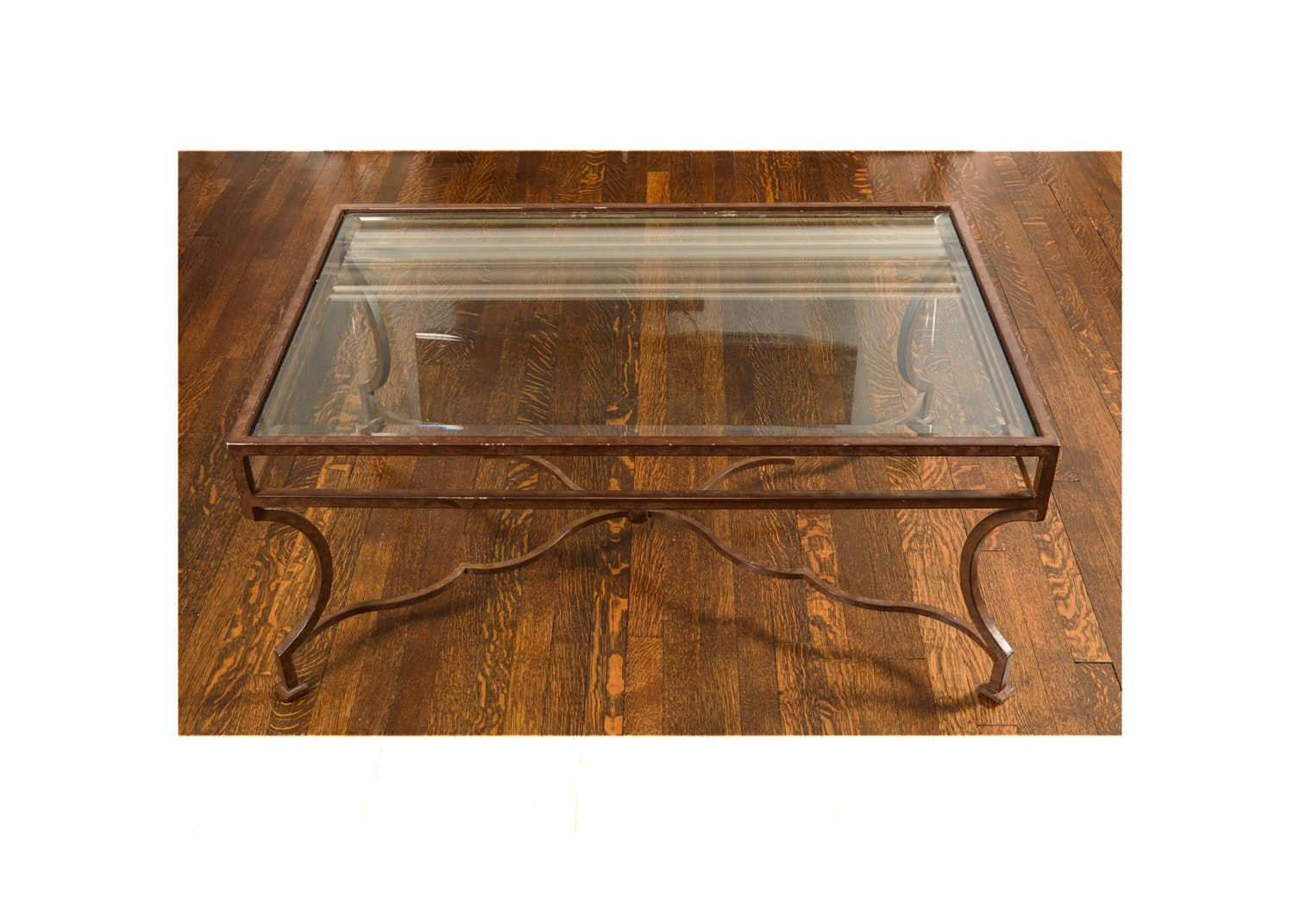 Wrought Metal Framed Glass Coffee Table by Niermann Weeks