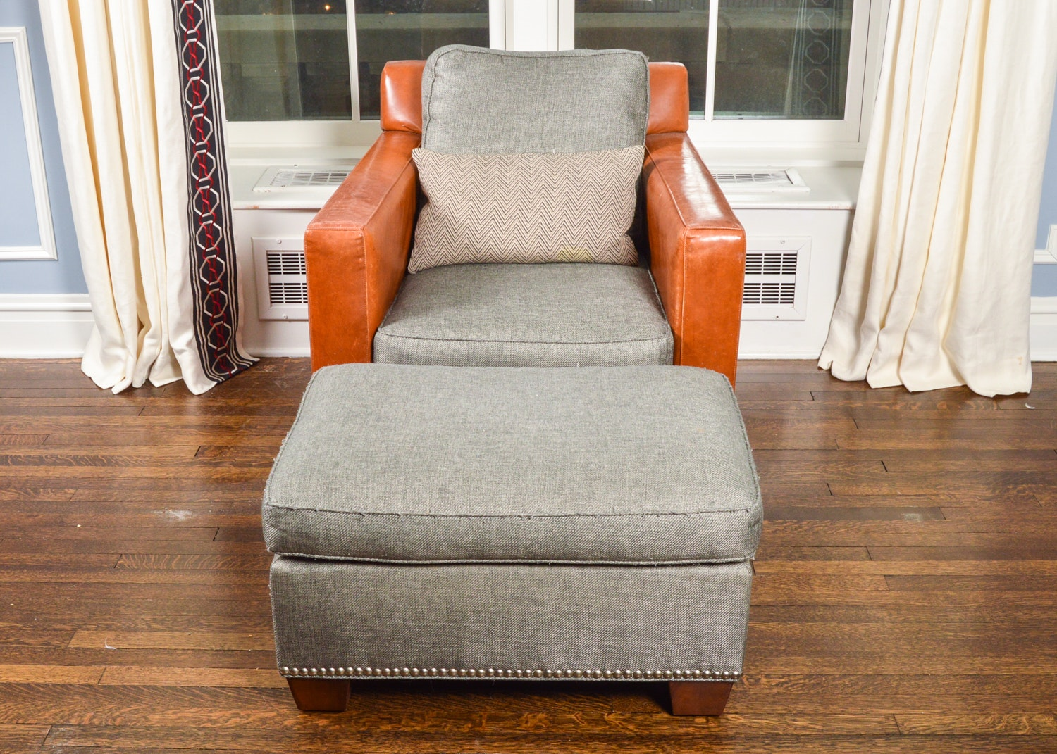 Leather and Gray Linen Upholstered Chair and Ottoman by Vanguard