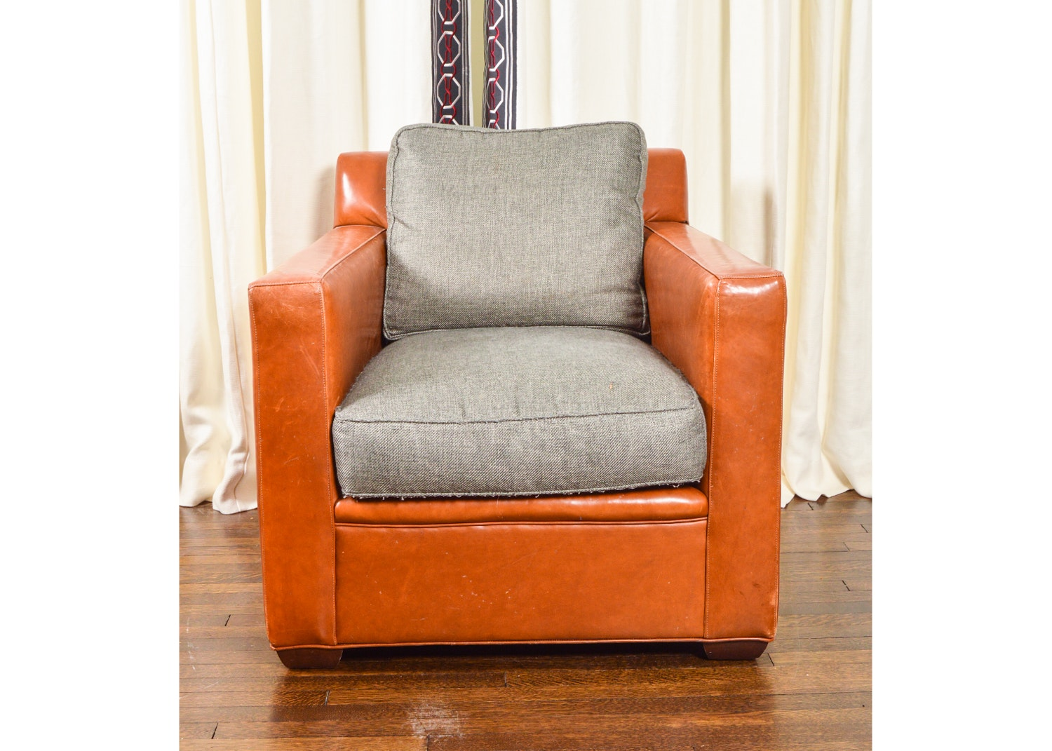 Leather and Gray Linen Upholstered Club Chair by Vanguard