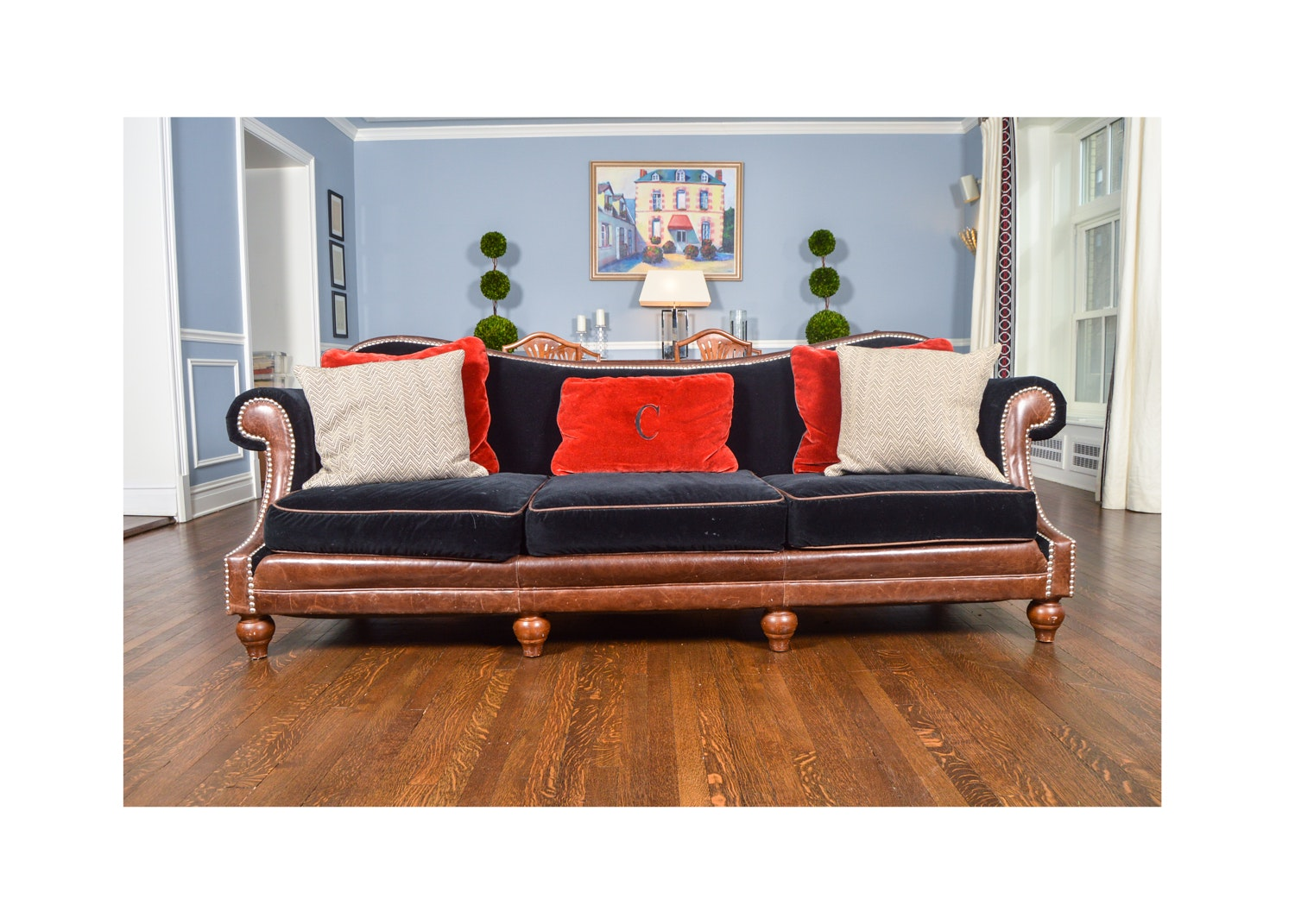 Black Velvet and Brown Leather Sofa by Century