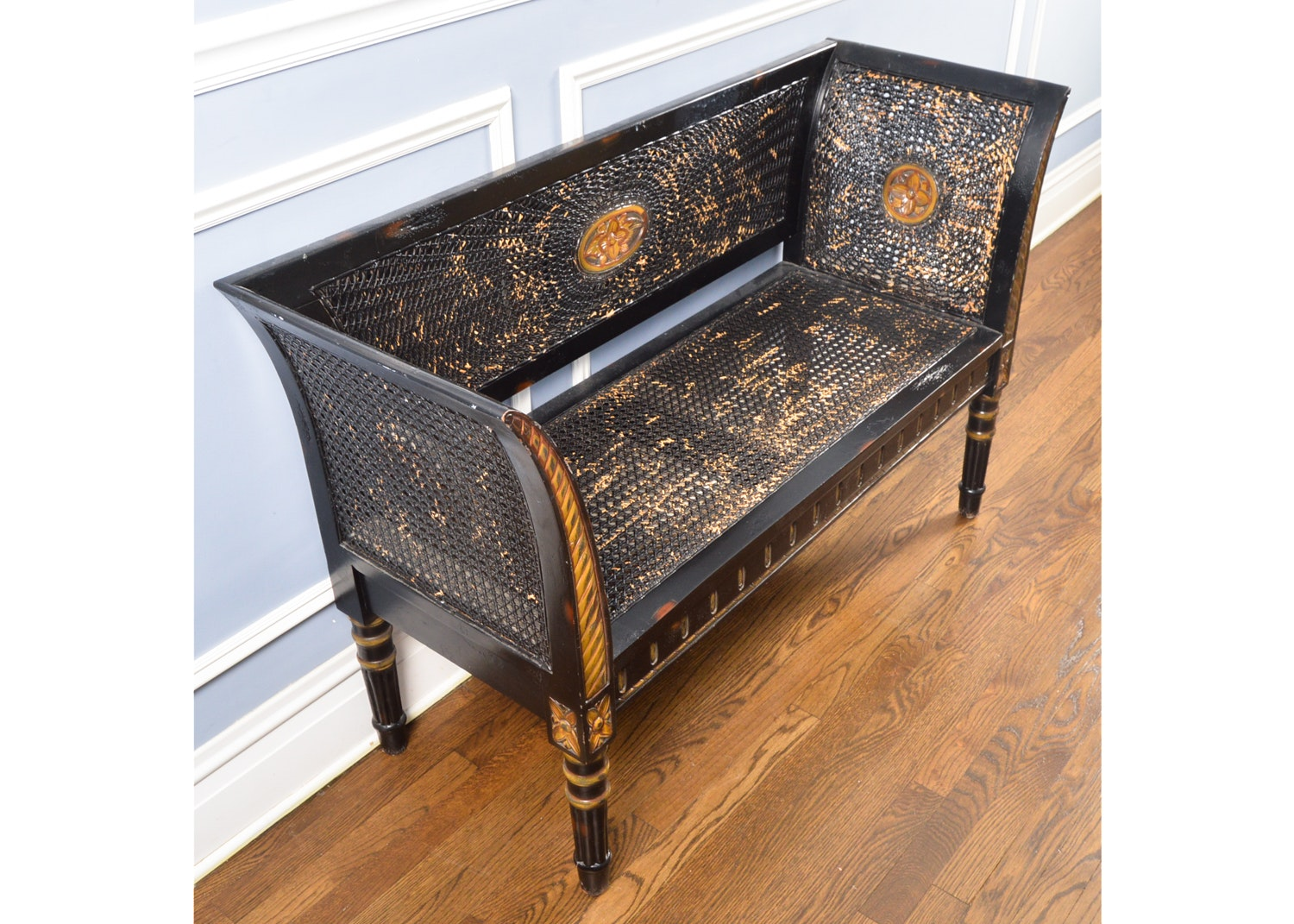 French-Style Painted Caned Settee