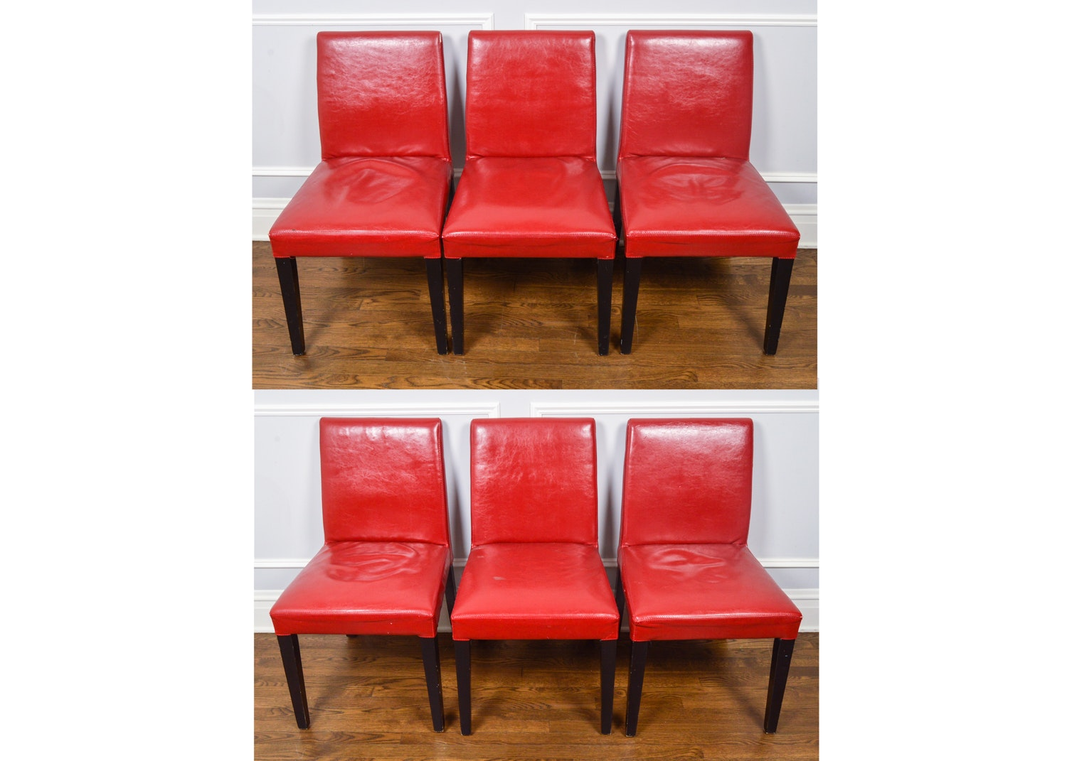 Set of Red Upholstered Dining Chairs By Crate & Barrel