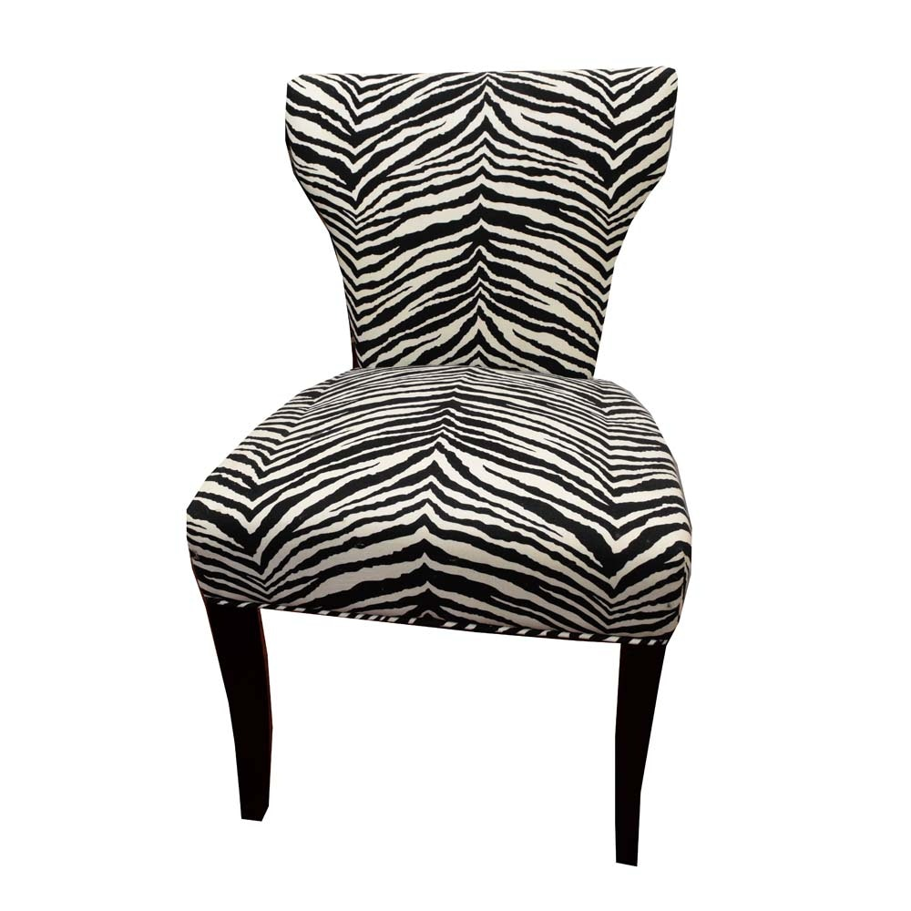 Contemporary Zebra Print Accent Chair