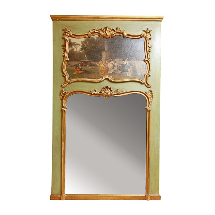 Louis XVI Style Hand-Painted Oil on Board and Gilt Trumeau Mirror