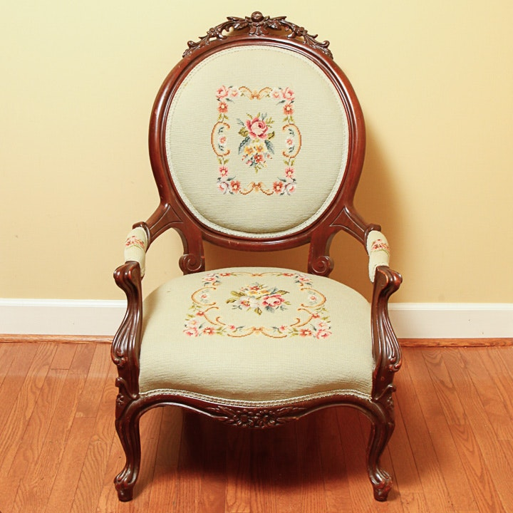 Victorian Carved Armchair with Needlepoint Upholstery