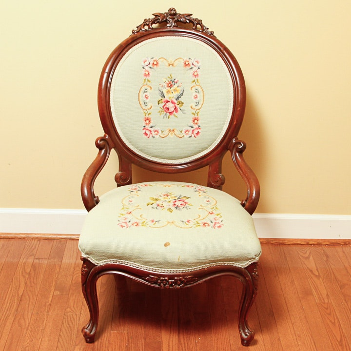 Victorian Style Chair with Needlepoint