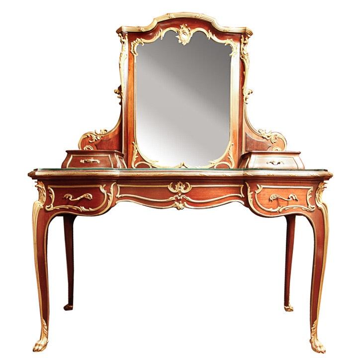 Louis XV-Style Mahogany and Ormolu Vanity