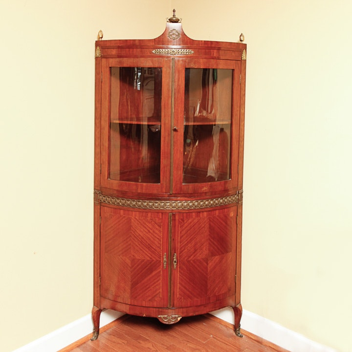 Vintage French Corner Display Cabinet with Ormolu