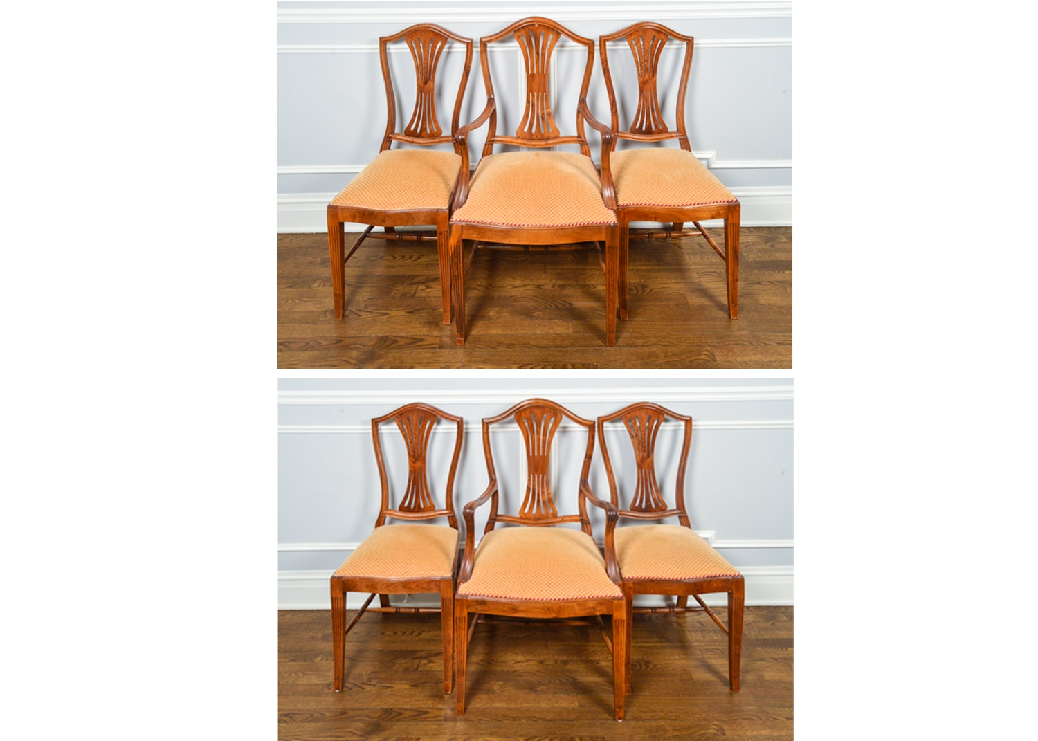 Six Hepplewhite Style Chairs in Solid Walnut