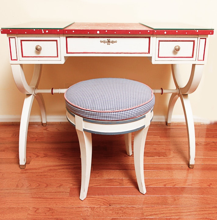 Painted Neoclassical Style Vanity by Kindel and Stool