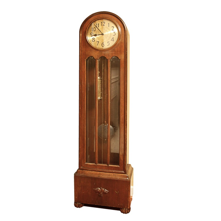 Vintage Art Deco German Grandfather Clock by Kieninger