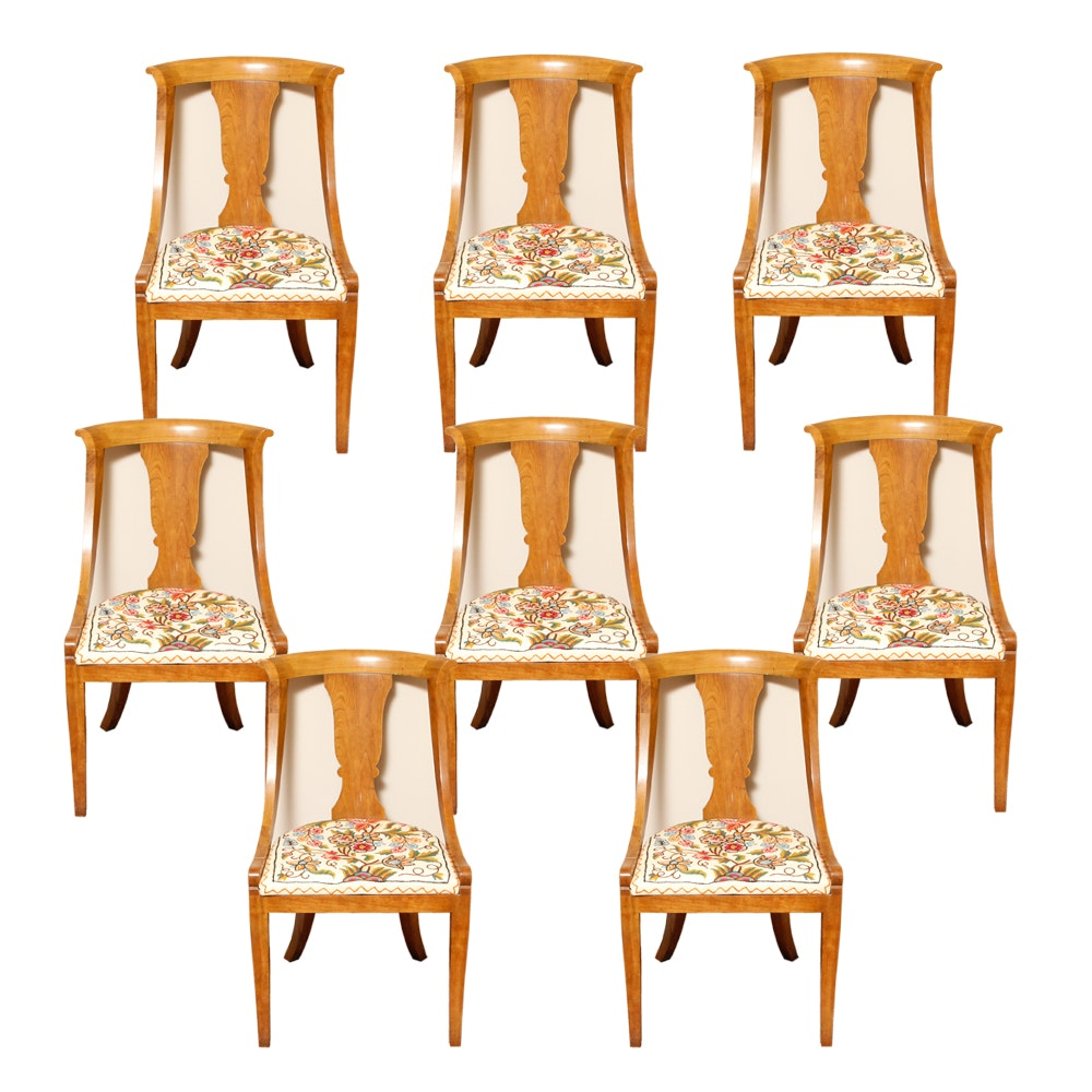 Eight French Gondola Chairs with Embroidered Seats