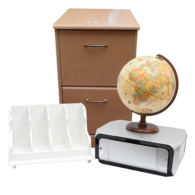 Canon Printer, Filing Cabinet, and Other Office Decor - Online Furniture Auctions Vintage Furniture Auction Antique
