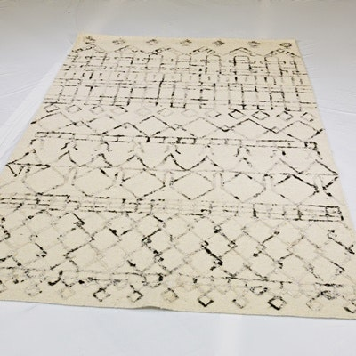 Handwoven Moroccan Design Wool and Viscose Area Rug