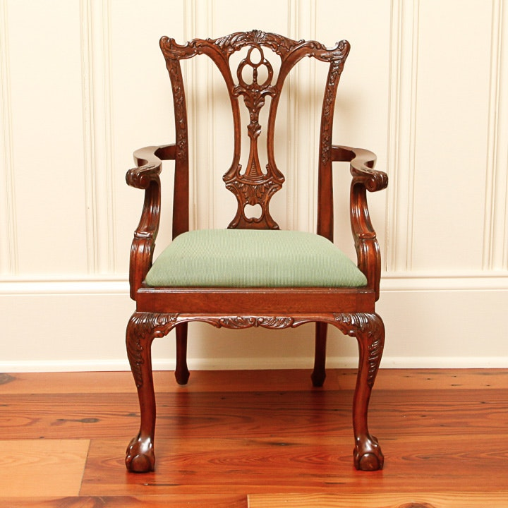 Chippendale Style Mahogany Finished Armchair