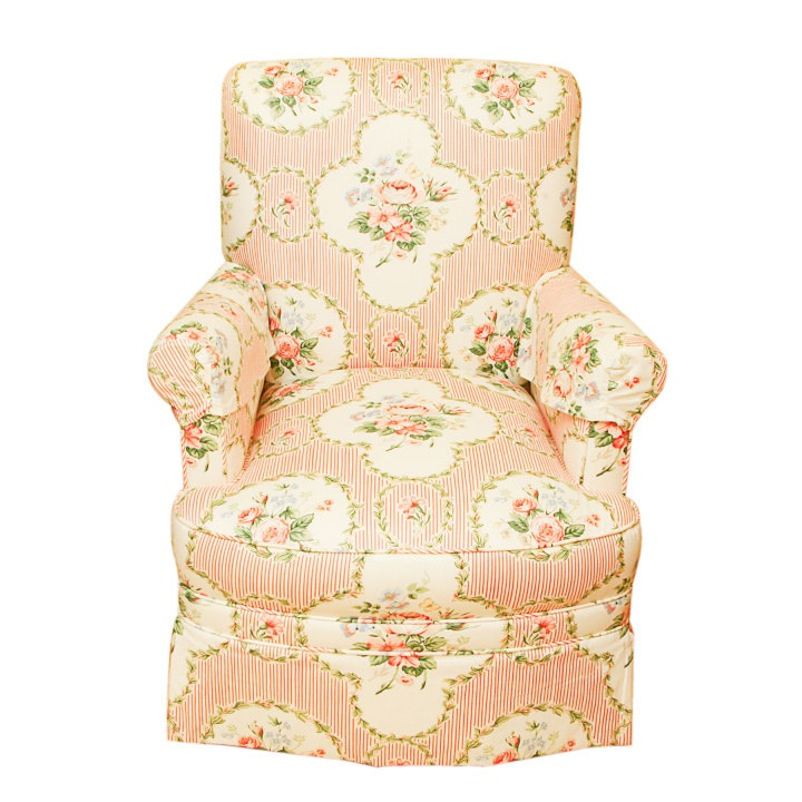 Floral Slipcovered Club Chair
