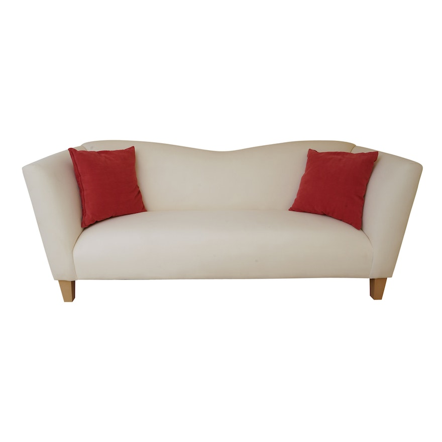 Cool Thomasville Contemporary White Sofa With Throw Pillows Squirreltailoven Fun Painted Chair Ideas Images Squirreltailovenorg