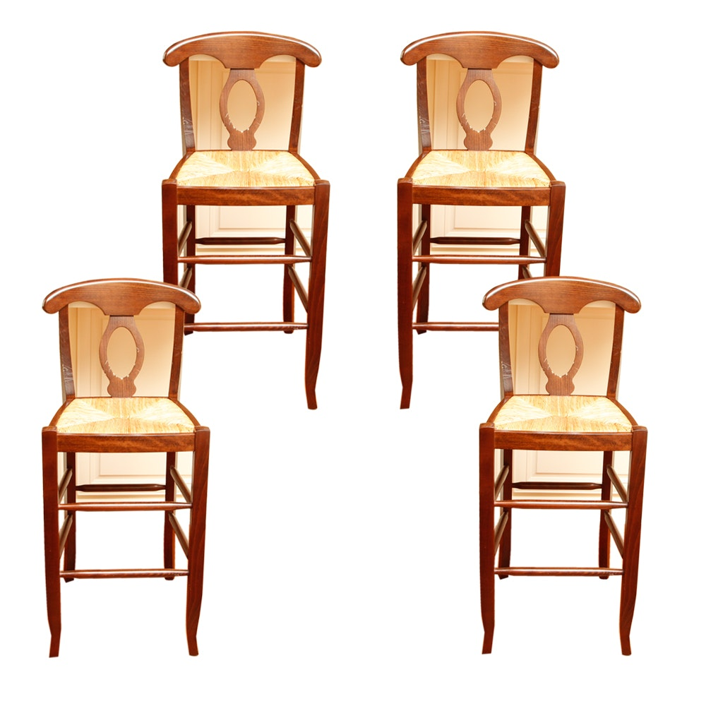 Four Contemporary Biedermeier Style Pine Bar Stools with Rush Seats