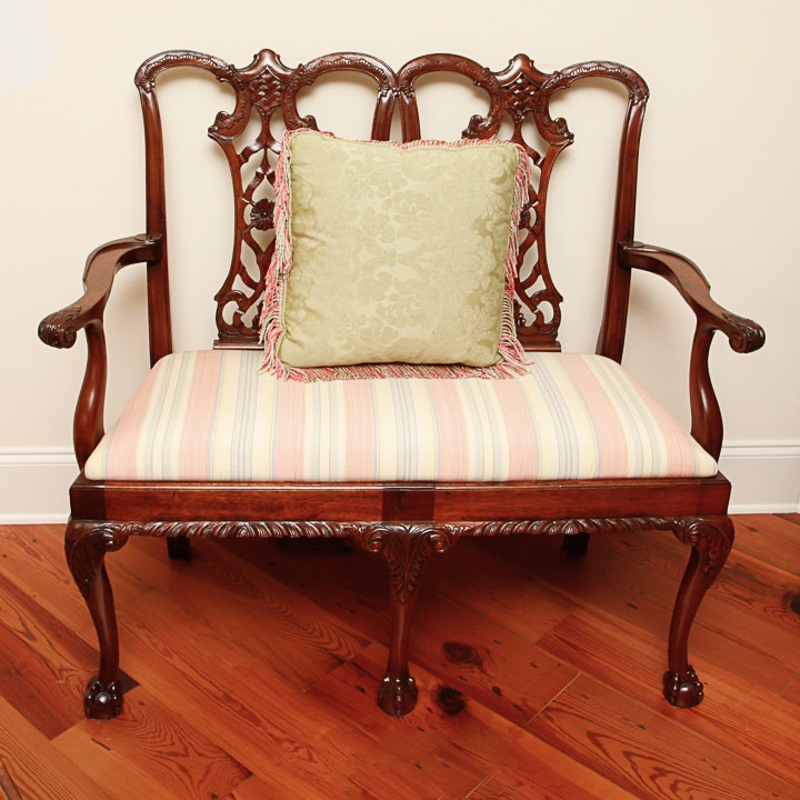 Vintage Chippendale Style Mahogany Settee by Edwards International