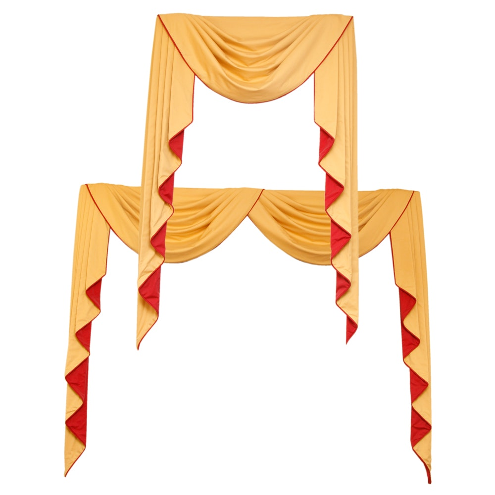 Pair of Yellow and Red Window Treatments