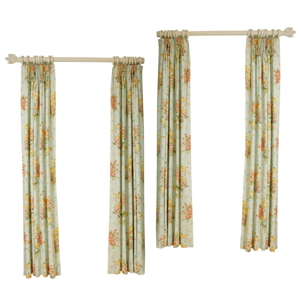 Pinch Pleat Floral Curtain Panels