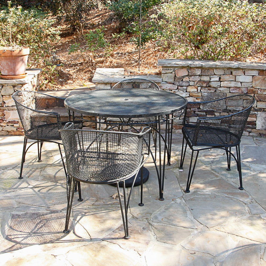 Outdoor metal patio dining table and tub style chairs ebth outdoor metal patio dining table and tub style chairs watchthetrailerfo