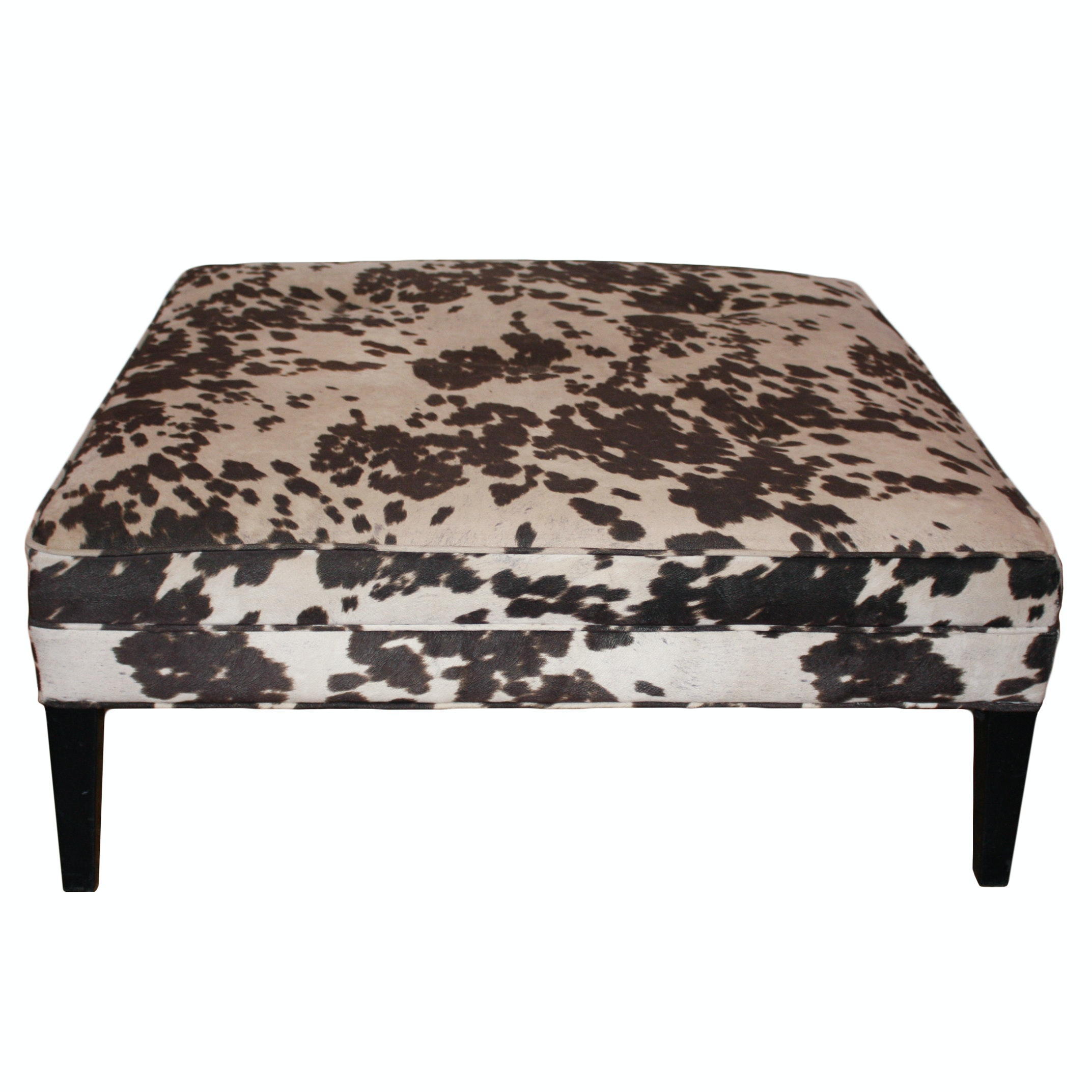 Cowhide Print Upholstered Ottoman