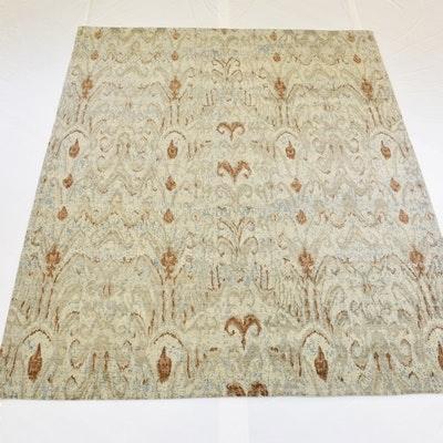 Hand-Knotted Jaipur Ikat Design Wool Area Rug