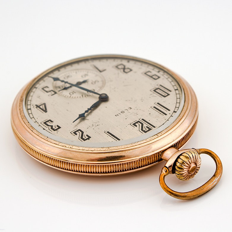 Circa 1924 Elgin Open Face Gold Filled Pocket Watch