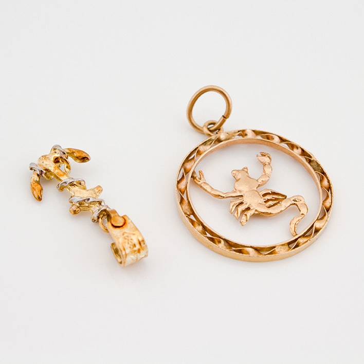 14K Yellow Gold Anchor and 18K Yellow Gold Scorpio Zodiac Pendants