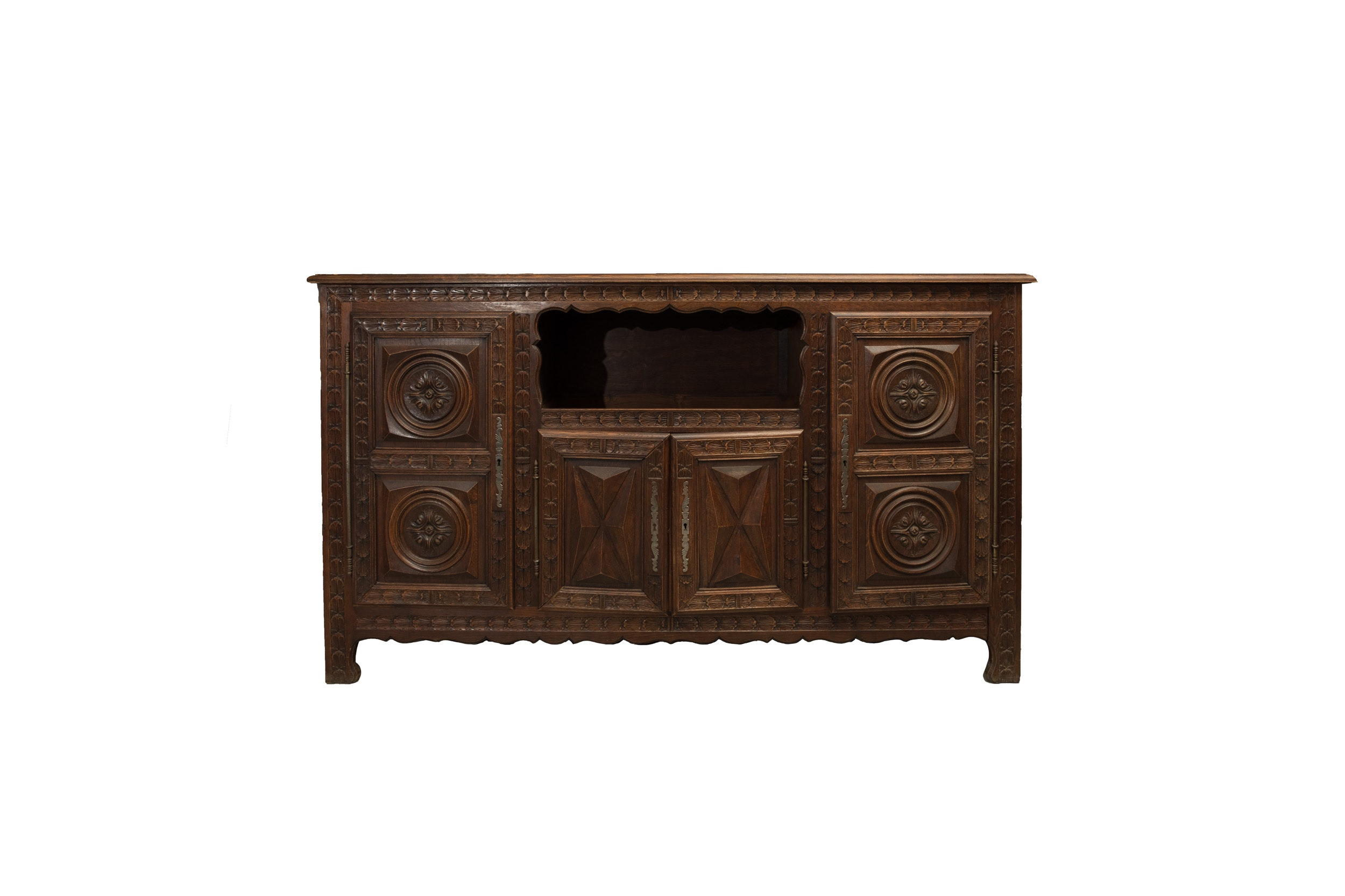 Vintage French Renaissance Style Carved Oak Cabinet