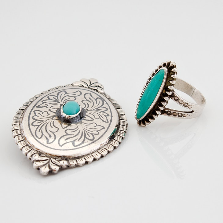 Southwestern Style Sterling Silver Turquoise Ring and 835 Silver Brooch