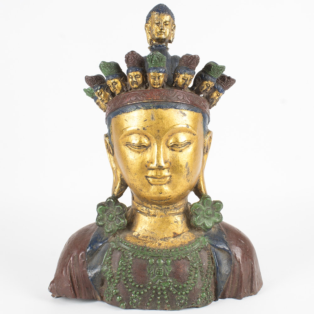 Brass Buddhist Bust with Painted Accents