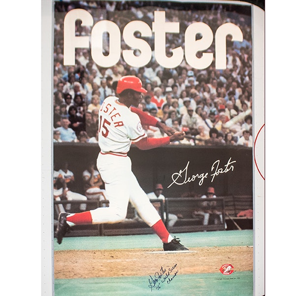 George Foster Autographed Reds Poster