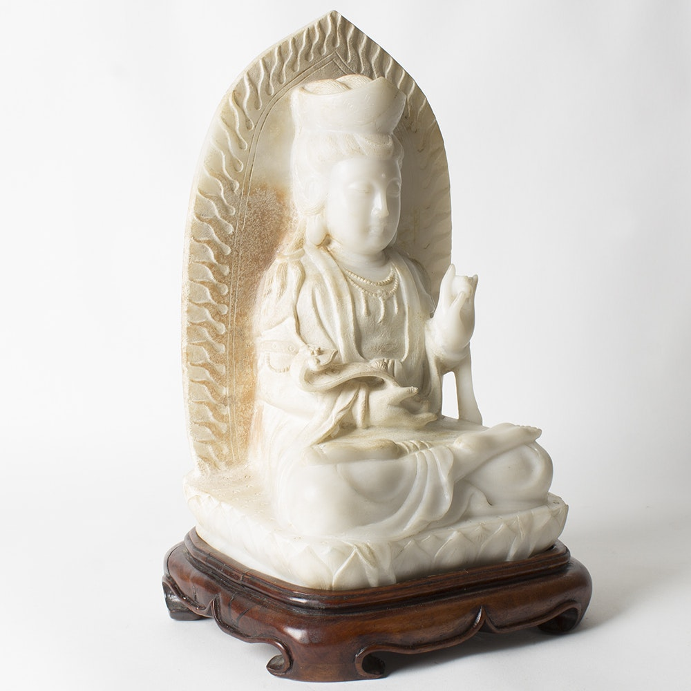 Stone Buddhist Statue with Stand