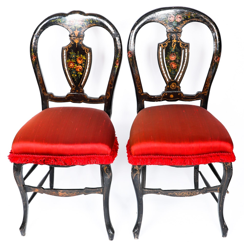 Pair of English Victorian Painted Chairs